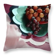 Lichees And Grapes Throw Pillow