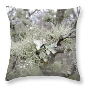 Lichens In The Plums Throw Pillow
