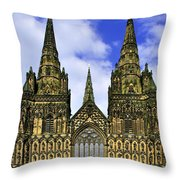 Lichfield Cathedral - The West Front Throw Pillow