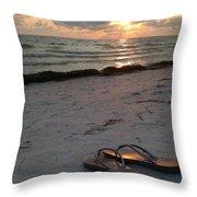 Lido Beach Sandals Throw Pillow