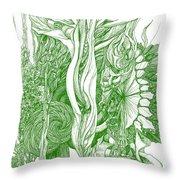 Life Force  - Green Throw Pillow
