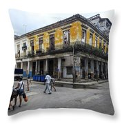 Life In Old Town Havana Throw Pillow