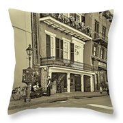 Life In The Quarter - Antique Sepia Throw Pillow