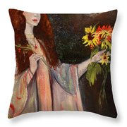 Life Is Fragile Handle With Flowers Throw Pillow