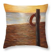 Life Ring At Sunset Throw Pillow