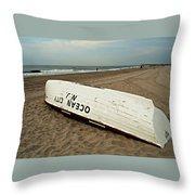Lifeguard Boat Ocean City, Nj Throw Pillow