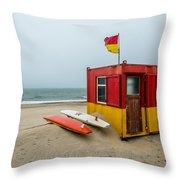 Lifeguard Station At Brittas Bay In Ireland Throw Pillow