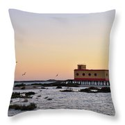 Lifesavers Building And Birds In Fuzeta. Portugal Throw Pillow
