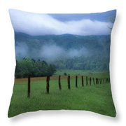 Lifting Fog In Cades Cove Throw Pillow
