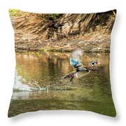 Liftoff In A Blur Of Color Throw Pillow