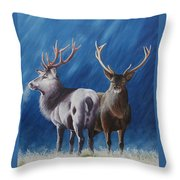 Light And Dark Stags Throw Pillow