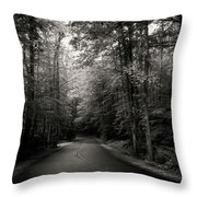 Light And Shadow On A Mountain Road In Black And White Throw Pillow