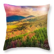 Light  Beam Falls On Hillside With Autumn Forest In Mountain Throw Pillow