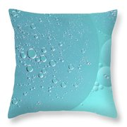 Light Blue Abstract Of Oil Droplet.  Throw Pillow