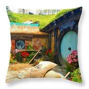 Light Blue Hobbit Door Throw Pillow