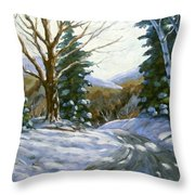 Light Breaks Through The Pines Throw Pillow