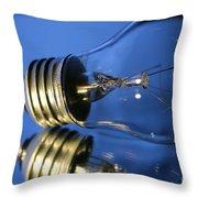 Light Bulb - Blue Throw Pillow