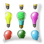 Light Bulbs Of A Different Color Throw Pillow