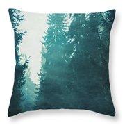 Light Coming Through Fir Trees In Mist Throw Pillow