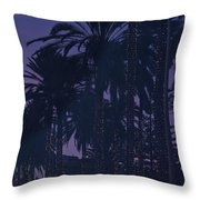 Light Decorated Palm Trees On Paseo Maritimo Throw Pillow