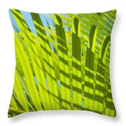 Light Green Palm Leaves Throw Pillow