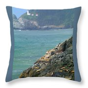 Light House And Sea Lions Throw Pillow