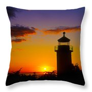 Light House At Fort Casey Washington Throw Pillow