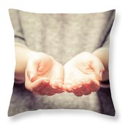 Light In Young Woman's Hands Throw Pillow