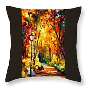 Light Of The Forest - Palette Knife Oil Painting On Canvas By Leonid Afremov Throw Pillow