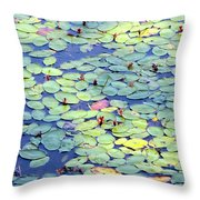 Light On Lily Pads Throw Pillow