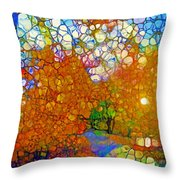 Light On The Autumn Path Throw Pillow