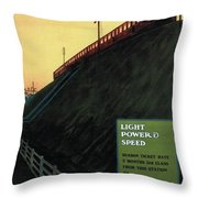 Light Power Speed - London Underground, London Metro - Retro Travel Poster - Vintage Poster Throw Pillow