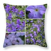 Light Purple Flowers Collage Throw Pillow