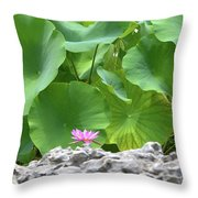 Light Purple Water Lily And Large Green Leaves Throw Pillow