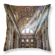 Light Rays In St Peter's, Rome Throw Pillow