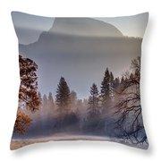 Light Rays In Yosemite Ground Fog Throw Pillow