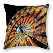 Light Streaks From The Spinning Ferris Wheel And Swing At Night  Throw Pillow