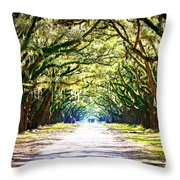 Light Through Live Oak Lane Throw Pillow