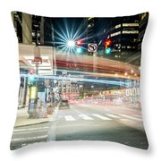 Light Trails On 17th And Market Throw Pillow
