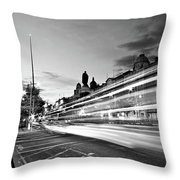 Light Trails On O'connell Street At Night - Dublin Throw Pillow