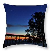 Light Trails, Star Trails And A Sunrise Throw Pillow