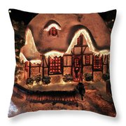 Lighted Christmas House  Throw Pillow