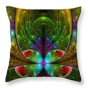 Lighted Flower Fractal Throw Pillow