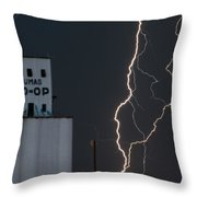 Lighten Strike At The Co Op Throw Pillow