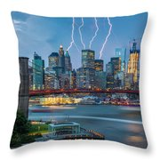 Lightening Striking Manhattan Throw Pillow