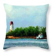 Lighthouse And Boat Nassau Bahamas Throw Pillow