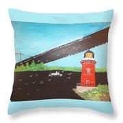 Lighthouse And Bridge Throw Pillow