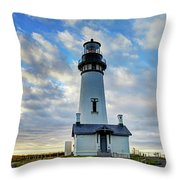Lighthouse And Clouds Throw Pillow