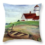 Lighthouse And Dinghy Throw Pillow