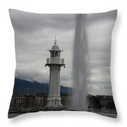 Lighthouse And Fountain Throw Pillow
